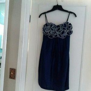 Alexia Armor Strapless Indigo/White Rosette dress
